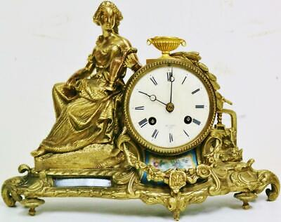 Antique French 8 Day Striking Bronze & Sevres Porcelain Lady Figure Mantel Clock