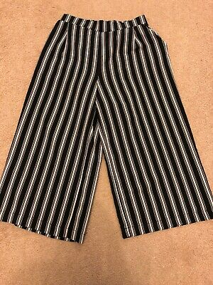 Age 10-11 Black White Stripe Culottes  New Look