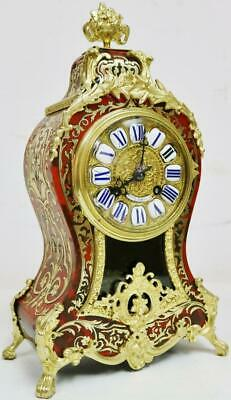 Rare Antique French Inlaid Boulle Bracket Clock 8 Day Red Shell Mantel Clock