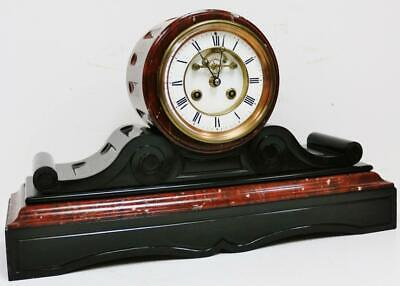 Beautiful Antique French 8 Day Striking Slate & Red Marble Drumhead Mantel Clock