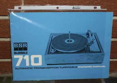 BSR McDonald 710 Auto Transcription Turntable Owner's Manual Exc!