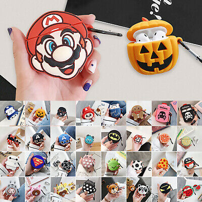 For Apple Airpods case Shockproof Cover Skin Anti Lost Strap Holder cartoon