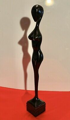 """Wooden FIGURE OF NUDE WOMAN Black Color QUALITY Hand Made Wood Amazing Art  23"""""""
