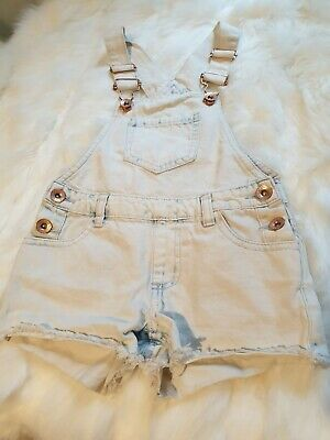 girls 3-4 years denim dungarees shorts jumpsuit playsuit romper smart next day