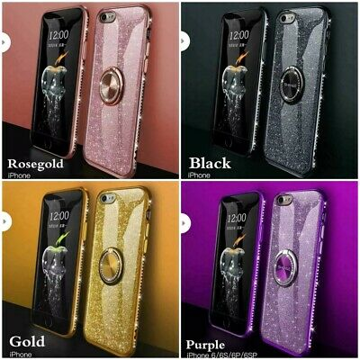 For iPhone 11 Pro 11 XS Max XR 6 7 8+ Bling Diamond Ring Holder Soft Cover Case