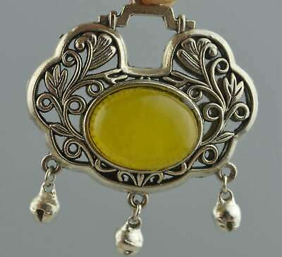 Collectable Handwork Miao Silver Carve Flower Rattan Inlay Agate Lucky Pendant