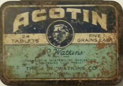 Vintage Winona Minnesota Quack Advertising Tin JR Watkins Acotin Original Pills