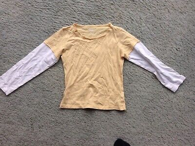 Marks and Spencer Mustard and White Long Sleeve Top Age 4-5 Years