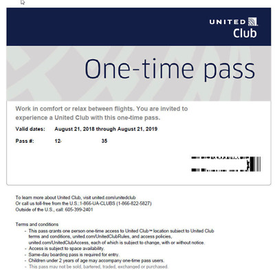 2 Passes for United Club One Time Pass EXP 09/19/2020--Guaranteed entry