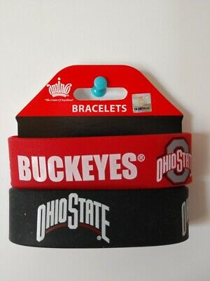 Ohio State Buckeyes Silicone Bracelet 2 Pack 2 Colors Wide Band **Brand New**