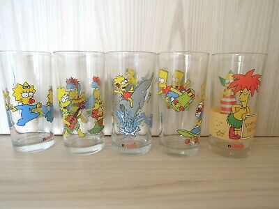 Vintage Lot of 5   THE SIMPSONS  Drinking Glasses  -  Like New