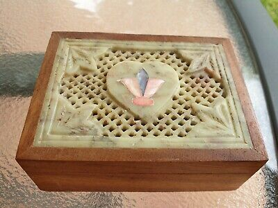 Old Carved Soap Stone & Wood Trinket  Box.soapstone.carved.box.