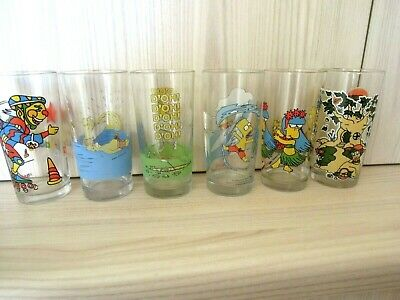 6 x THE SIMPSONS /Hazelnut /ROLLERBLADE  Nutella COLLECTIBLE Glass  VGC  1993 +
