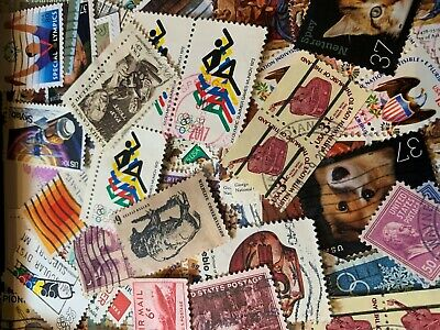 One-hundred 25-80 year old Used US Postage Vintage Stamp Collection in Glassine
