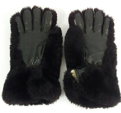 Vintage 1940-50's Black Teddy Bear Faux Fur and Leather Gloves XL