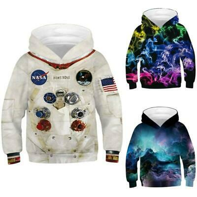 Kids Boys Girls 3D Print Pullover Hooded Sweatshirt Jumper Hoodie Tops Age 5-14Y