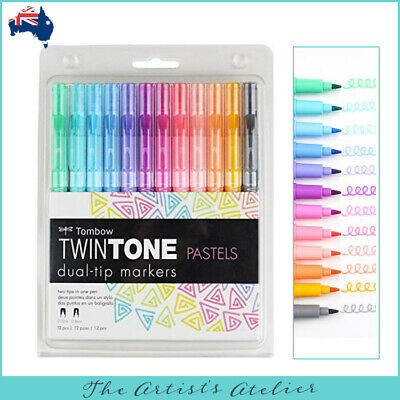 Tombow Twintone Dual Tip Marker Set of 12 Pastel Colours - Lettering, Craft