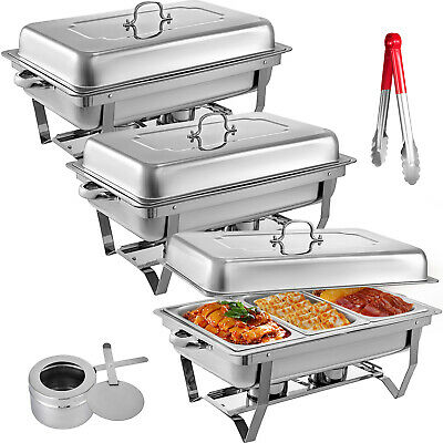 3 Packs Chafing Dish with 1/3 Inserts 9 L Chafer Buffet Serving Food Warmer Tray