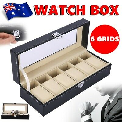 6 Grids Leather Watch Display Box Case Jewelry Collection Storage Organizer