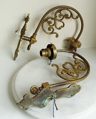 2 Victorian Brass Wall Lamp Gas Light Sconces Electric Converted