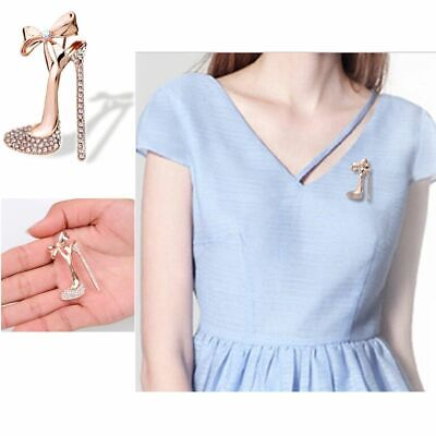 Chic Rhinestone Crystal Sexy Gold Plated Jewelry High Heeled Shoes Brooch pin
