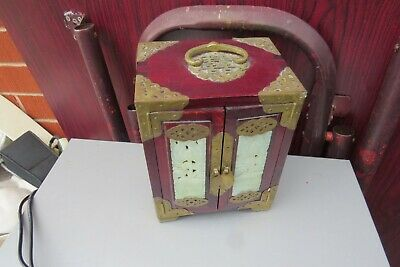 vintage Chinese Oriental  jewellery  Box  Jade Wood Brass  Chest  draws 2