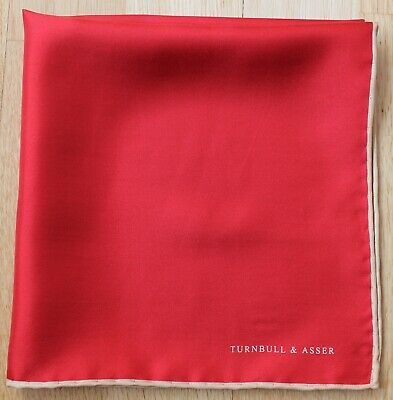 Silk Turnbull & Asser red pocket square with cream border. Excellent condition