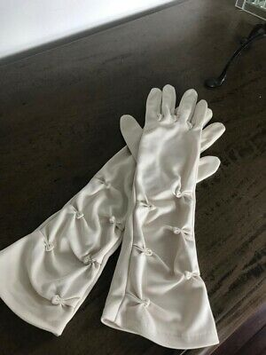 Vintage 1970s Gloves White,Rouched, 3/4 Length, Wedding, Races, Autumn Evening