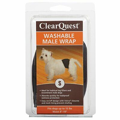 ClearQuest Washable Male Dog Wraps, Reusable, Leakproof Wetness Protection - Sma