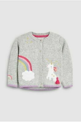 Next Girls Grey Knitted Cardigan With Pockets Rainbow Clouds Unicorn 2-3 Years