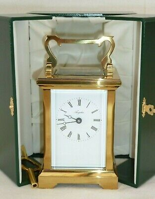 Superb, Angelus 8 Day Solid Brass Carriage Mantel Mantle Clock + Display Case