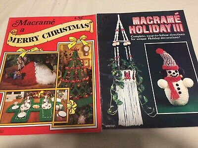 Macrame Pattern Books Christmas Tree Skirt Tree Snowman plus Vintage 1979 used