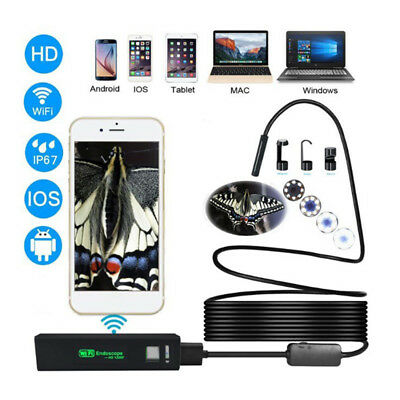 For Android iPhone WIFI Endoscope Waterproof Borescope Inspection Camera 8RDRK