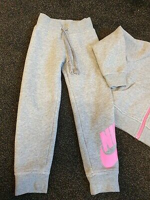 used girls 4.5 years grey and pink nike tracksuit