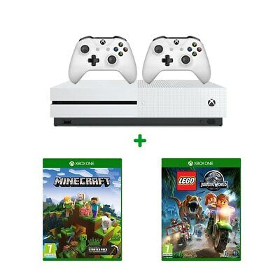 Xbox One S 1TB, Two Controllers, 2 Games Minecraft & LEGO Jurassic World