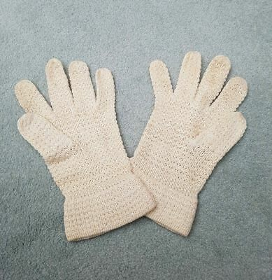 REDUCED  ❀ڿڰۣ❀ VINTAGE 1960s Women's CREAM SUMMER Knitted COTTON GLOVES ❀ڿڰۣ❀