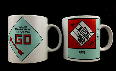 2 Monopoly Board Game Coffee Mugs Just Visiting Jail Go Collecty $200.00 12oz
