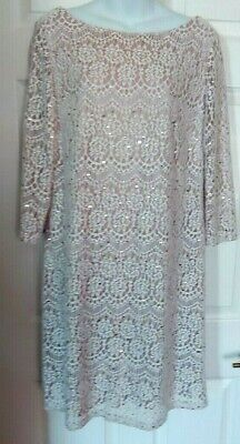 New Jessica Howard Ivory Silver Metallic Overlay Lace