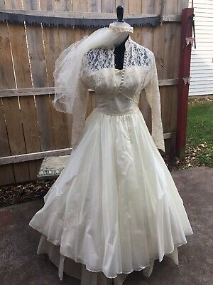 Vintage 1956 Wedding Dress Lace Strapless