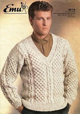 Emu 4919 Men Cable Sweater Aran 34-44in Vintage Knitting Pattern