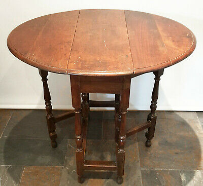 19th Century small oak gateleg table narrow diminutive proportions late Georgian