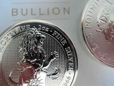 Two x  New 2020 QUEENS BEAST White Lion of Mortimer 2 oz Silver Coins