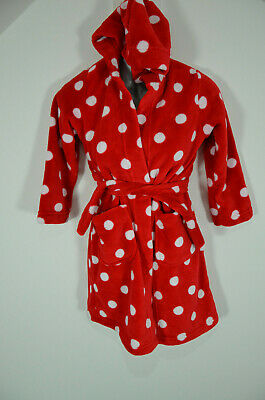 M&S Hooded Dressing Gown Age 6-7 Red & White Spot Bath Robe Like Minnie Mouse