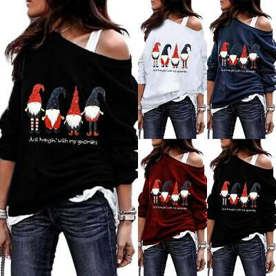 Womens Off Shoulder Casual Loose Sweatshirt Jumper Pullover Lady Xmas Tops Shirt