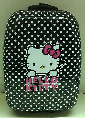 Hello Kitty Hard Shell Girls Overnight 2 WHEELS Rolling Suitcase Luggage-USED