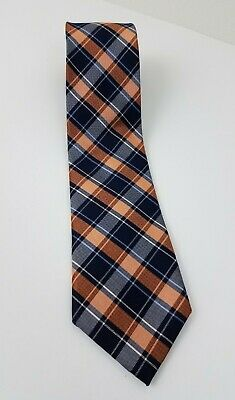 "Chaps Ralph Lauren 100% Silk 58"" Long 3.25"" Wide Blue Orange White Plaid Necktie"