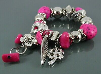 Silver Bracelet With Pink Semi Precious Stone Beads And Heart Flower Leaf Charms