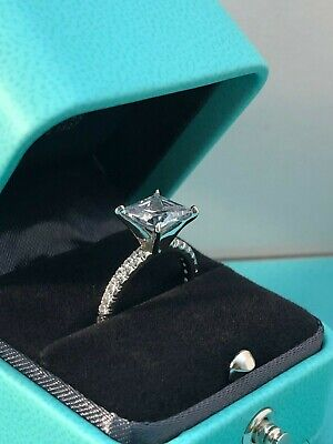 2 CT Princess Cut DIAMOND SOLITAIRE ENGAGEMENT RING 14K WHITE GOLD ENHANCED