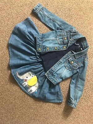 Girls Denim Jacket, Skirt And Top Outfit - Age 2-3 Years