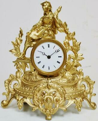 Antique French 8 Day Tic Tac Gilt Metal Lady Figurine Timepiece Mantel Clock